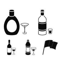 Vodka red wine vermouth chocolate liqueur vector