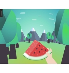 Watermelone picnic in a forest vector