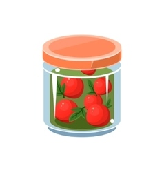 Wild apples in transparent jar vector
