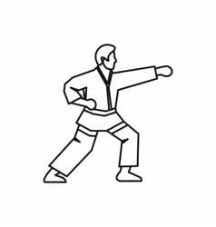 Karate fighter icon outline style vector