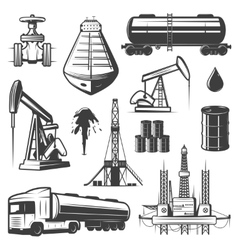 Vintage extraction oil elements set vector