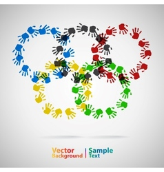 Olympic rings from hand print vector