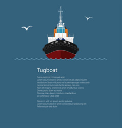 front view of push boat and text vector image