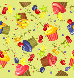 Cupcake pattern seamless vector