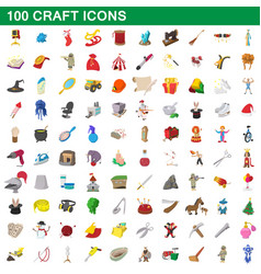 100 craft icons set cartoon style vector
