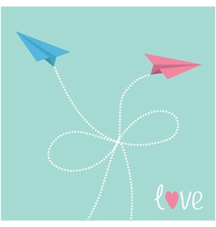 Origami paper plane in the sky with dash line bow vector