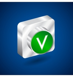 Validation accepted metall green button vector