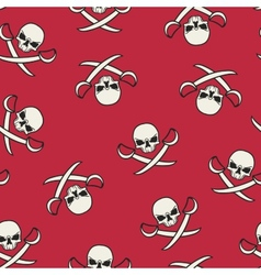 Seamless texture with skulls and pirate swords vector