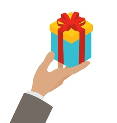 Small gift box in a mans hand vector