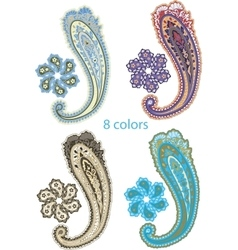 Traditional ornamental set paisley design vector