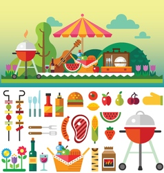 Summer picnic in meadow vector