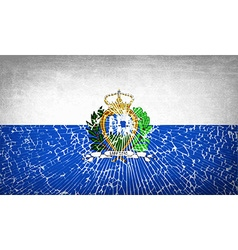 Flags san marino with broken glass texture vector