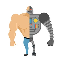 Cyborg half human half robot man with big muscles vector