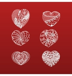Hand drawn valentines day doodle hearts collection vector