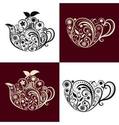 Floral ornamental teapot and cup set vector