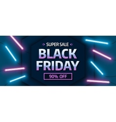 Black friday sale banner Glowing neon background vector image