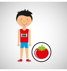 Cartoon boy athlete with tomato vector