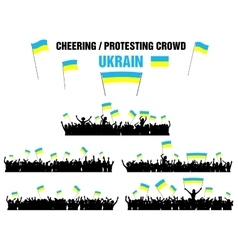 Cheering or protesting crowd ukraine vector