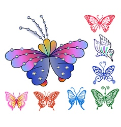 Colored butterfly logo set vector