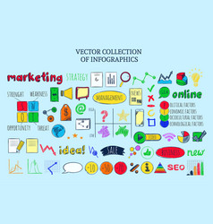 colored infographic business sketch elements vector image
