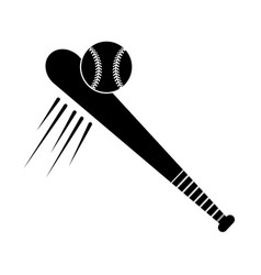 Contour baseball with bat and ball icon vector