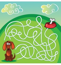 Cute dogs maze game vector