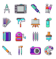 design and drawing tools icons set cartoon style vector image vector image