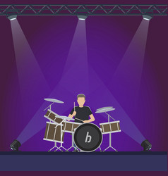 Drummer at stage with purple lights vector