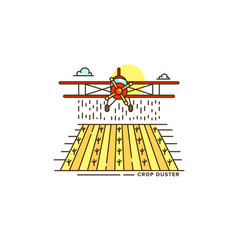 farm crop duster above the field line icon vector image vector image