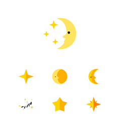flat icon bedtime set of asterisk lunar moon and vector image vector image