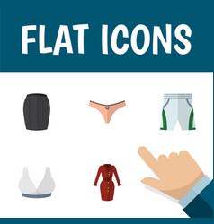 Flat icon garment set of trunks cloth lingerie vector