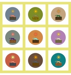 flat icons set of drought and thirsty man concept vector image vector image