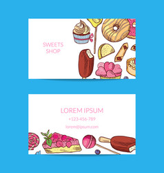 hand drawn sweets or pastry shop business vector image vector image