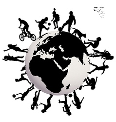 Happy children silhouettes playing over earth vector