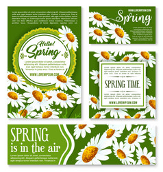 Hello spring springtime holiday banner template vector
