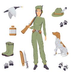 hunting set vector image