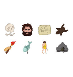 life in the stone age icons in set collection for vector image