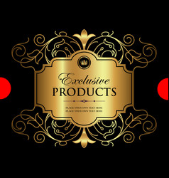 Luxury ornamental gold label vector