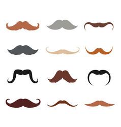male mustache set vector image vector image