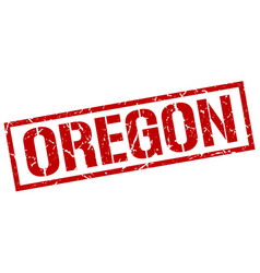 Oregon red square stamp vector