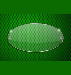 oval glass transparent plate on green perforated vector image vector image