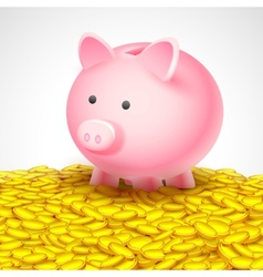 Piggy bank on heap of gold coin vector