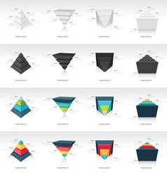 Pyramid upside down infographic template set vector