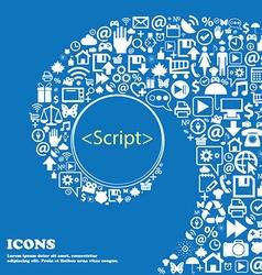 Script sign icon javascript code symbol nice set vector