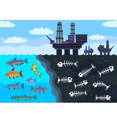 Sea water pollution by oil vector image