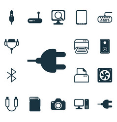 set of 16 computer hardware icons includes aux vector image vector image