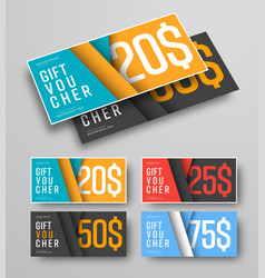 Set of gift vouchers material design royalty free vector set of gift vouchers with floating leaves over vector image negle Gallery