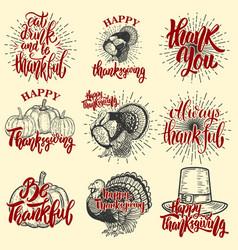 set of happy thanksgiving badges turkey pumpkin vector image