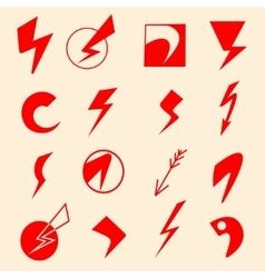 Set of lightning icons and flash symbols vector image