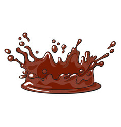 Side view splash of chocolate realistic hand vector